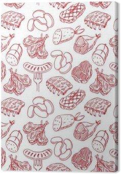 Leinwandbild Nahtlose Skizze Fleischprodukte
