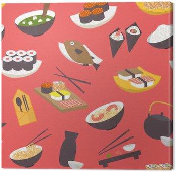 Leinwandbild Nahtlose Sushi-Muster, flache Design-Vektor für Restaurant, Menü, ein Café, kulinarische Blogs und Websites.