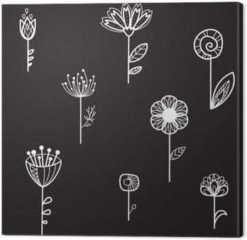 Leinwandbild Nahtlose Textur mit dekorativen Blumen, schwarzer Hintergrund, Vektor-Illustration