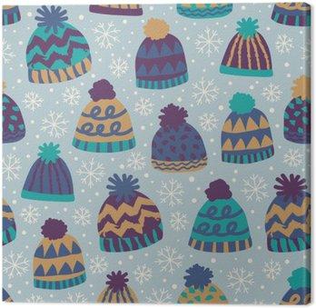 Leinwandbild Nahtlose Wintermuster mit Kappen und Schneeflocken