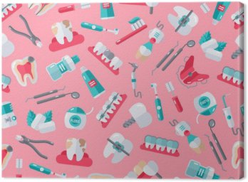 Leinwandbild Nahtlose Zahnarzt-Muster auf rosa Hintergrund