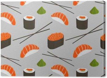 Leinwandbild Nahtloses Muster mit Sushi.