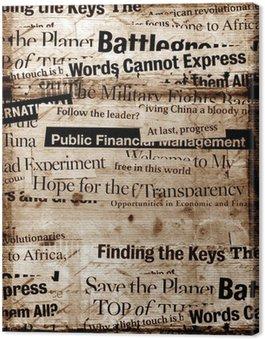 Leinwandbild New Papier Schlagzeilen mit altem Papier Hintergrund
