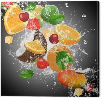 Leinwandbild Obst mit Spritzwasser