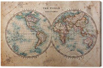 Leinwandbild Old World Map in Hemispheres