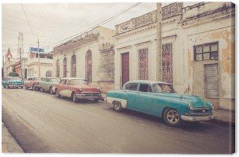 Leinwandbild Oldtimer an der Straße | Kuba