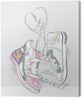 Leinwandbild Paar Turnschuhe mit Schnürsenkeln in Form von Herzen. Hand gezeichnet Vektor-Illustration.