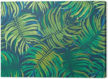 Leinwandbild Palm Blätter Tropic nahtlose Vektor-Muster
