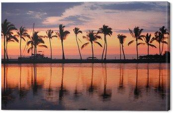 Leinwandbild Paradise Strand Sonnenuntergang tropischen Palmen
