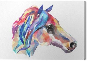 Leinwandbild Pferdekopf, Mosaik. Trendy Stil geometrische auf weißem Hintergrund.