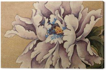 Leinwandbild Pfingstrose Blume auf einem gelben Hintergrund