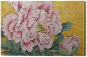 Leinwandbild Pfingstrose rosa Blume auf einem goldenen Hintergrund