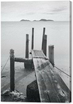 Leinwandbild Pier ins Meer, Schwarz und Weiß