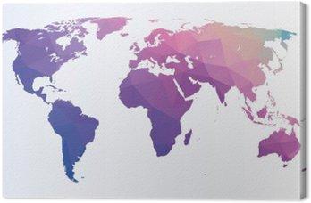Leinwandbild Polygon-Weltkarte