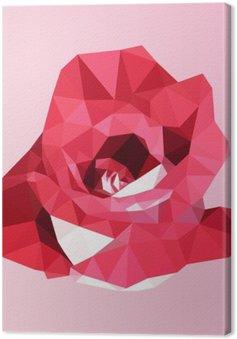 Leinwandbild Polygonal rote Rose. Poly niedrigen geometrischen Dreieck Blume Vektor