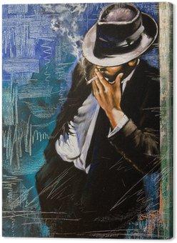 Leinwandbild Portrait des Mannes mit einer Zigarette