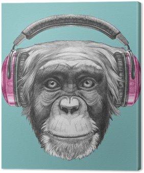 Leinwandbild Portrait von Affe mit Kopfhörern. Hand gezeichnete Illustration.