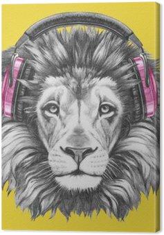 Leinwandbild Portrait von Lion mit Kopfhörern. Hand gezeichnete Illustration.