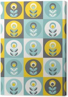 Leinwandbild Retro Blumenmuster, nahtlose Blumen geometrischen