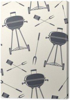 Leinwandbild Retro-Grill, nahtlose Muster.
