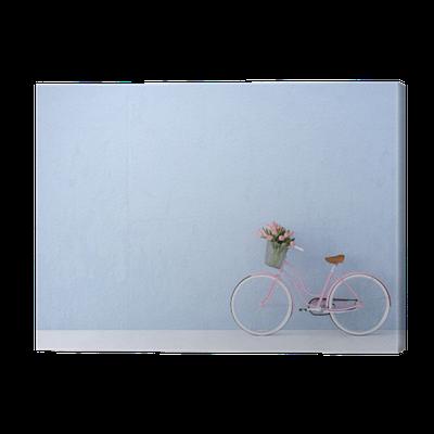 leinwandbild retro vintage fahrrad alt und blauen wand 3d. Black Bedroom Furniture Sets. Home Design Ideas