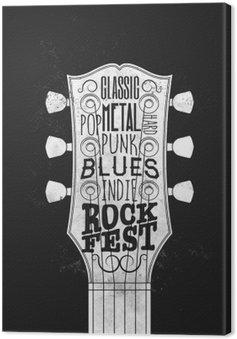 Leinwandbild Rockmusik-Festival-Plakat. Vintage-Stil Vektor-Illustration.