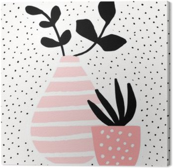 Leinwandbild Rosa Vase und Topf mit Pflanzen
