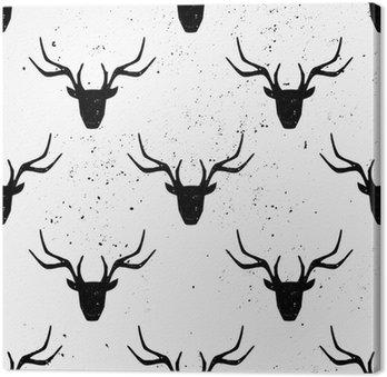 Leinwandbild Rotwild-Kopf-Silhouette Seamless Pattern