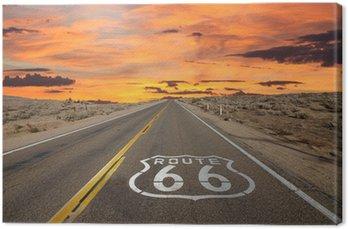 Leinwandbild Route 66 Bürgersteig Zeichen Sonnenaufgang Mojave-Wüste
