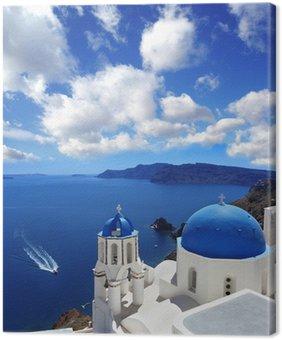 Leinwandbild Santorini mit traditionellen Kirche in Oia, Griechenland