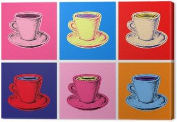 Leinwandbild Satz von Pop-Art-Illustration Stil Kaffeetasse Vektor