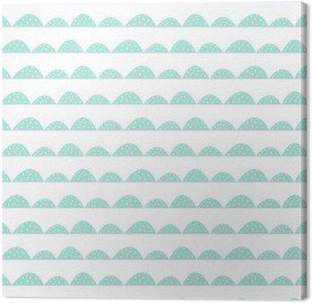 Leinwandbild Scandinavian nahtlose Minze Muster in der Hand gezeichnete Art. Stilisierte Hügel Reihen. Wave-einfaches Muster für Stoff, Textil- und Babywäsche.