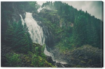 Leinwandbild Scenic Norwegischer Wasserfall