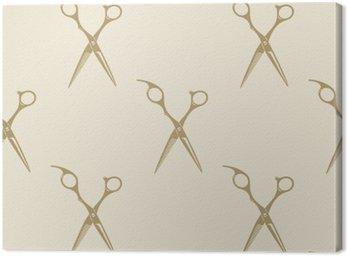 Leinwandbild Schere Muster Kachel Hintergrund nahtlose Jahrgang Friseurladen Symbol Emblem-Label-Kollektion