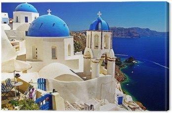 Leinwandbild Schönen Santorini Ansicht der Caldera mit Kirchen
