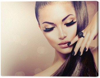Leinwandbild Schönheit Mode Modell Mädchen mit langen gesundes Braun Haar