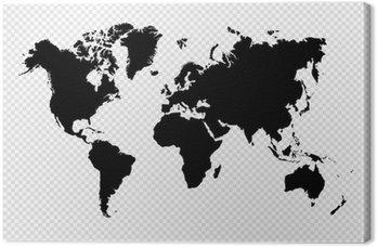 Leinwandbild Schwarz Silhouette Weltkarte EPS10 Vektor-Datei.