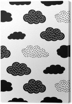 Leinwandbild Schwarz und Weiß nahtlose Muster mit Wolken. Cute Baby-Dusche Vektor Hintergrund. Kind Zeichnung Stil Abbildung.