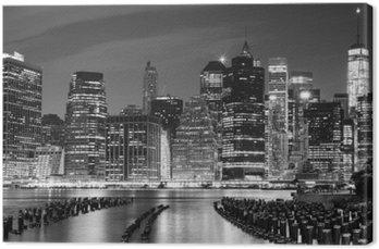 Leinwandbild Schwarz-Weiß-Foto von Manhattan am Wasser, NYC, USA.