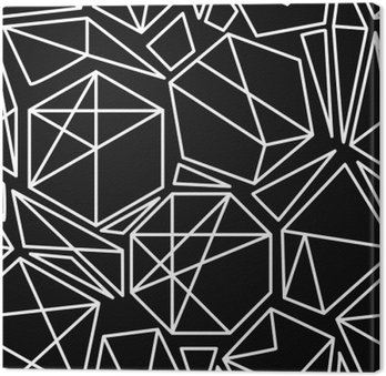 Leinwandbild Schwarz-Weiß-Vektor-geometrische nahtlose Muster