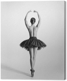 Leinwandbild Schwarze und weiße Spur von einem Oben-ohne Ballett-Tänzerin