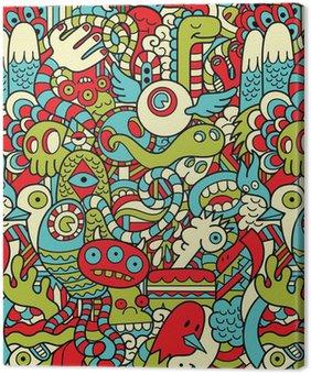 Leinwandbild Seamless Hipster Doodle Monster Collage Muster