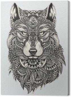 Leinwandbild Sehr detaillierte abstrakte Wolf illustration