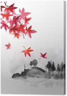 Leinwandbild Set von Kompositionen reprezenting vier Jahreszeiten. Sakura-Zweig, Bambus, Chrysantheme und rote Ahornblätter. Traditionelle japanische Tuschemalerei Sumi-e. Enthält Hieroglyphe - Glück, Glück.