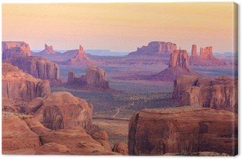 Leinwandbild Sonnenaufgang in Hunts Mesa im Monument Valley, Arizona, USA