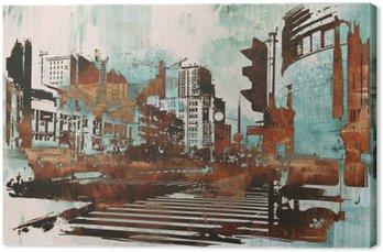 Leinwandbild Stadtlandschaft mit abstrakten Grunge, Illustration Malerei