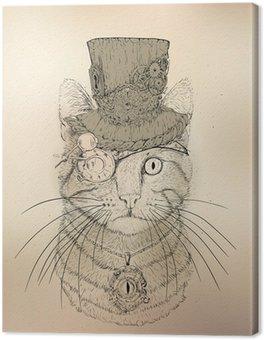 Leinwandbild Steampunk Cat Vintage Style
