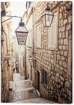 Leinwandbild Steile Treppen und schmale Straße in der Altstadt von Dubrovnik