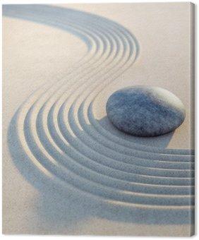 Leinwandbild Stein und Wellen im Sand Hochformat