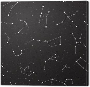 Leinwandbild Sternennacht nahtlose Muster, Hintergrund mit Sternen und Konstellationen, Vektor-Illustration